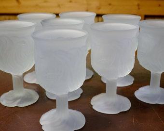 Vintage Avon Flowerfrost Goblet Glass Set of 7 Frosted Stemware Glassware Panchosporch