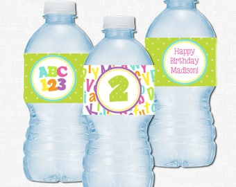 Alphabet Water Bottle Labels, ABC123 Party Decorations, Numbers and Letters Labels