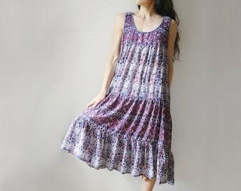 Cotton Gauze Dress // Blockprint Floral // 60s 70s Hippie Gown