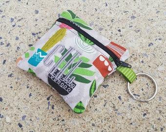 Cactus Mini Oil Bag, Change Purse, Monogrammed Zipper Bag, Keychain