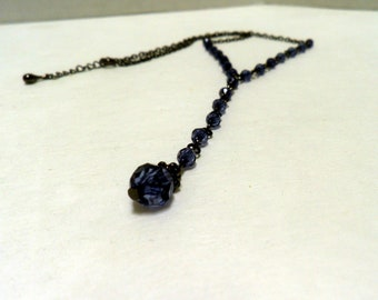 Lariat style Necklace, Midnight Blue crystals and Gunmetal chain