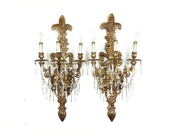 "PAIR - Free Shipping USA Canada - Vintage Louis XV Crystal Wall Sconces Large 31"" Brass Ornate Wall Fixture Gold Antique Lighting Italian"