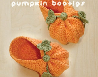 Halloween Pumpkins Baby Booties Orange Green Halloween Pumpkins Preemie Newborn Socks Shoes Moccasins Crochet Pattern (HPB01-P-PAT)