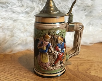 Ceramic Stein Tankard with Lid