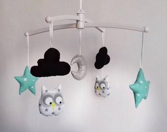 Mint Grey Owl baby mobile black