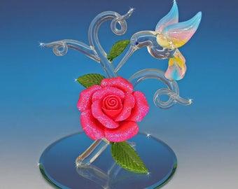 Handmade Hummingbird on Red Rose