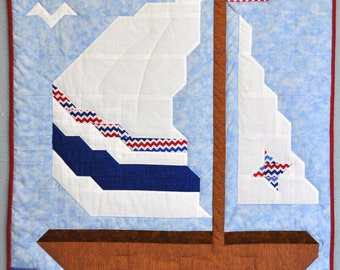 Baby Boy Sailboat quilt PATTERN with multiple sizes