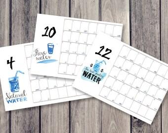 spring water calendar, fridge calendar, monthly calendar, monthly planner, desk decal calendar
