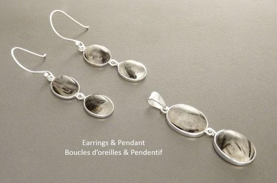 Black Rutile Quartz Pendant Set Sterling Gemstone Clear Quartz Rutilated Earrings Set Minimalist Necklace Crystals Jewelry Mineral Veined
