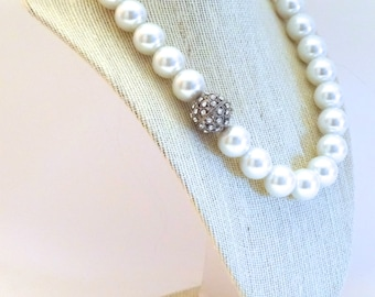 Pearl Necklace with Crystal Accent beads