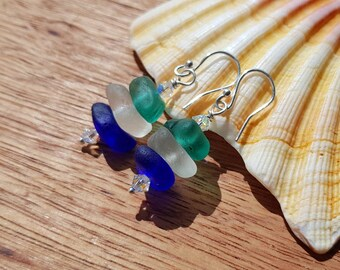 Genuine Sea Glass Earrings, Irish Sea Glass Earrings, Beach Glass Earrings, Stacked Sea Glass Earrings