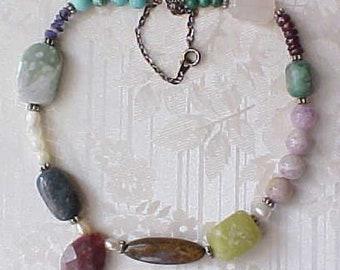 Asymmetrical mixed Gemstone Choker Necklace