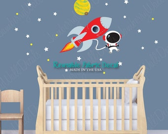 Rocket Decal, Space Wall Decal, Planet with Moon, Stars (Mini Rocket Mission DK) MRM
