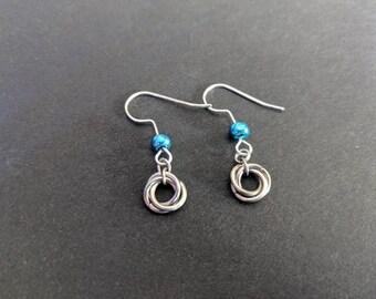 Hypoallergenic Earrings - turquoise rosette dainty dangle