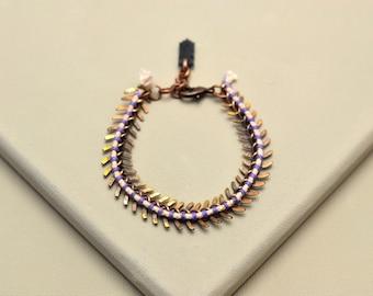 Boho Bracelet, Brass Bracelet, Scale Bracelet, Woven Chain Bracelet, Statement Bracelet, Hippie Bracelet, Old Gold Bracelet, Copper Bracelet