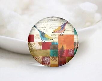 Handmade Round Bird Photo Glass Cabochons (P3540)