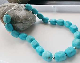 Stabilized Turquoise Necklace - Nugget Statement Necklace, Nugget Gemstone, Handmade Jewelry