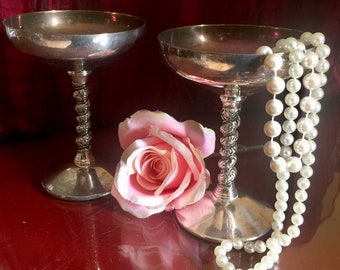 Silver Plated Wine Goblets Champagne Grapevine Twisted Stem Victorian Cordial Footed Drinkware Groom Bride Rustic Metal Wedding Toast Spain