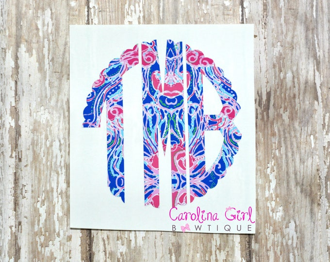Lilly Pulitzer Inspired Scallop Monogram Decal ~ Yeti Decal ~ Lilly Car Decal ~ Lilly Decal ~ Lilly Sticker