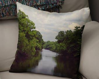 Louisiana River Nature Throw Pillow Cover, Lafayette LA Nature Decor, Swamp Bayou Deep South Decor, Canoeing  Kayaking Gift, River Pillow
