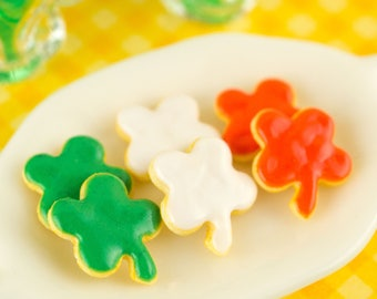 Made to Order St. Patrick's Day Shamrock Cookies - Half Dozen - 1:12 Dollhouse Miniature