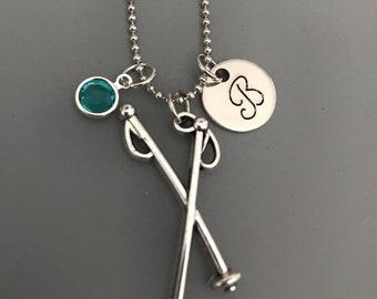 Ski Poles Necklace-Snow Skiing Jewelry-Snow Skiing Necklace