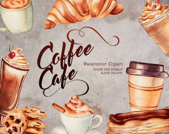 Coffee clipart Cafe clipart Food Watercolor clipart