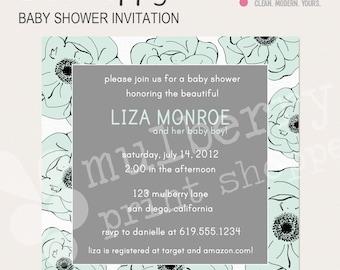 Blue Poppy Baby Shower Invitation
