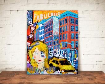 SOHO GIRL-Soho art-soho new york art-Soho home decor-Soho new york art print-Soho wall art-soho gift-new york art gift