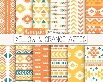 "Aztec digital paper: ""YELLOW & ORANGE AZTEC"" aztec patterns, tribal backgrounds, summer, geometric, native, triangles, arrows, digital"