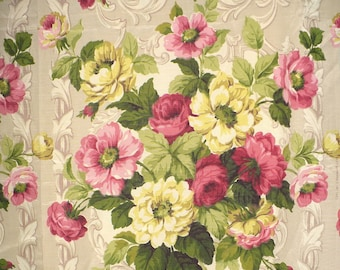 Vintage Fabric, Roses, Scrolls, Bouquets, 2 YARDS, Pinks, Yellow, 1940's