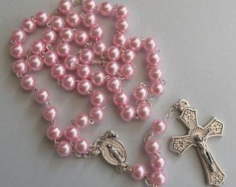 Glass Pearl Rosary (Pale Pink)