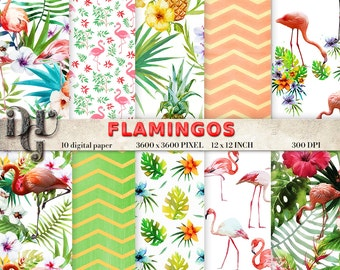 Flamingo Digital Paper FLAMINGOS Digital Paper Pack Summer Tropical Instant Download Pink Flamingo Digital Paper Pink Flamingo patterns 104