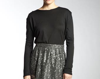 Women's Black Long Sleeve Top With Pleated Shoulder Detail