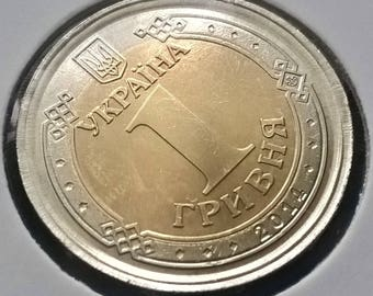 "Europe. UKRAINE. 1 Hryvnia 2014. Kolomiets# 1БА. Minted on 2 EUR 2002 (Italy -""1st map"") with saved edge."