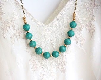 Turquoise Beaded Necklace - Strand Necklace - Statement Necklace - Beaded Necklace - Brass Necklace - Boho Necklace - Bohemian Necklace