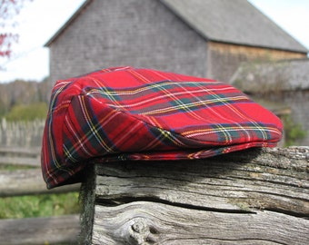 Royal Stewart Newsboy Flat Cap Great For Scottish Occasions or Summer Festivals, Royal Stewart Tartan Flat Cap, Scottish Hat, Stewart Hat