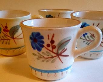 4 STANGL mugs - 1970's blue daisy coffee mugs - vintage mugs - hand painted mugs - oven proof coffee mugs - 70's mugs - set of four mugs