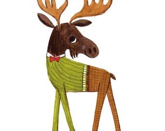 Dapper Moose print with mat