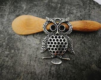 1 pc, owl, bird, OWL pendant, silver, Metal pendant 48 x 32 mm pendant