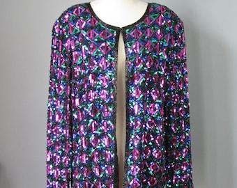 Sequined Jacket / Vtg 80s / Lawrence Kazar Silk Sequined Jacket / Size 1X