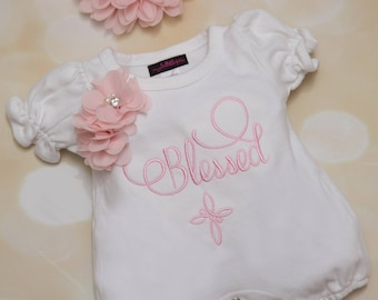 Baby Girl Blessed with Cross Infant White Cotton Bubble Romper with Pink Embroidery and Chiffon Flowers with matching Headband