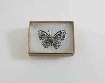 Filigree Sterling Silver Large Butterfly Pin