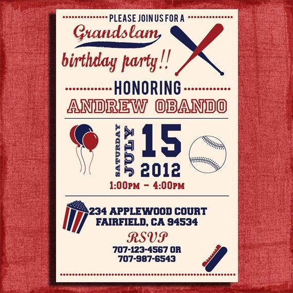 Vintage Baseball Birthday Invitations: Vintage Baseball Birthday Invitation 4x6 Or 5x7
