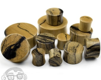 "Black White Ebony Wood Plugs - (1/2"" - 1 & 3/8"" Inch) 1 Pair"