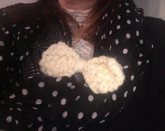 garment scarf knit bow hair clip