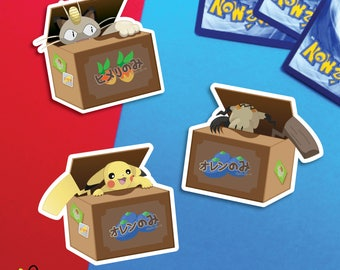 Mimikyu Pikachu Meowth Pokemon Fruit Box |  sticker