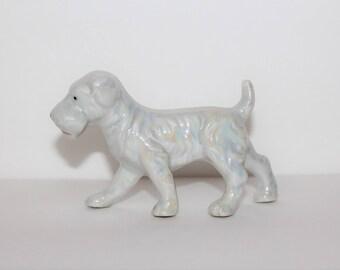 Vintage Terrier Dog, White Dog Figure, Iridescent Dog Figurine,Vintage Ceramic Dog