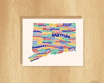 Hand Lettered Connecticut Card, Connecticut Gift, Connecticut Shape, Connecticut Cities Card, Connecticut Notecard