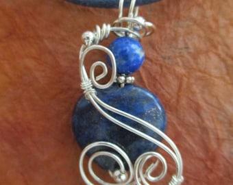 Wire Wrapped Heart-Shaped Lapis Lazuli Pendant